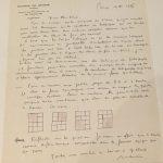 Lettre de Morris à Goscinny à propos de la documentation à réunir sur le télégraphe avec un croquis sur la construction des planches à 3 ou 4 bandes, Bruxelles, 19/04/1975
