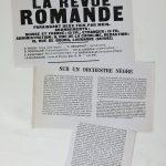 Ernest Ansermet, « Sur un orchestre nègre », La Revue romande, octobre 1919