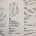 Chronologie dans l'exposition. Photo N. Gillain