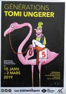 Affiche. Illustration de Tomi Ungerer, sans titre, dessin reproduit dans Das groβe Buch vom Schabernack, 1970-80, Collection Musée Tomi Ungerer, Strasbourg. Photo A. Chassagnol