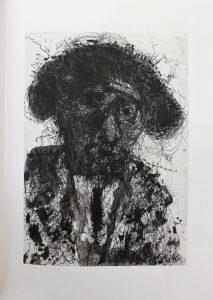 Détail du livre 90, Miquel Barcelo, portrait de Michel Butor en torero, 2016. Collection particulière