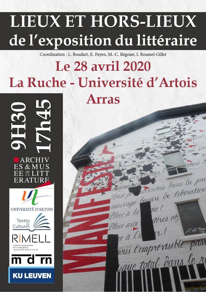 Lieux et hors-lieux de l'exposition du littéraire – Université d'Artois, Arras – 2 octobre 2020